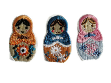 Set 3 Matryoshka Dolls Embroidered Iron On Patches Appliques Each 1x1.63 Inch