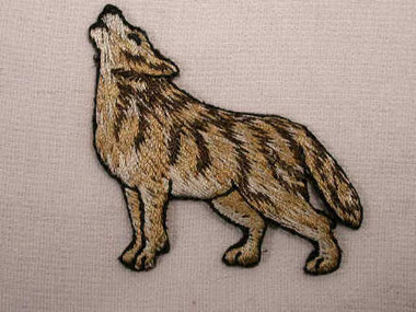 Howling Wolf Embroidered Iron On Applique Patch