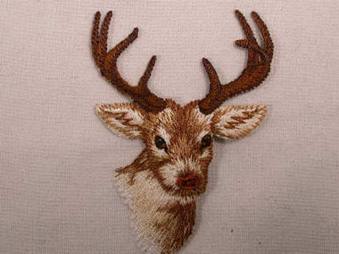 Deer Head w Antlers Embroidered Iron On Applique Patch