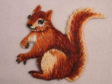 Sitting Squirrel Embroidered Iron On Applique Patch