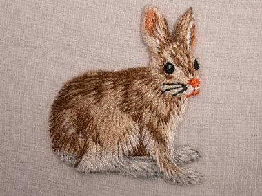 Seated Bunny Rabbit Embroidered Iron On Applique Patch