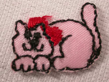 2 Cute Pink Cat Kitty Applique Patch Embroidered Iron On