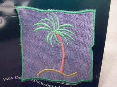 Pastels Palm Tree Embroidered Iron On Applique Patch