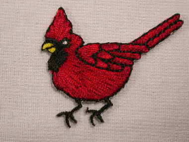 Red Cardinal Perky Small Embroidered Applique Patch