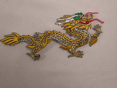 Oriental Dragon Yellow Gold Applique Patch 6.75