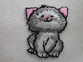 Grey Kitten Embroidered Iron On Patch 1 In