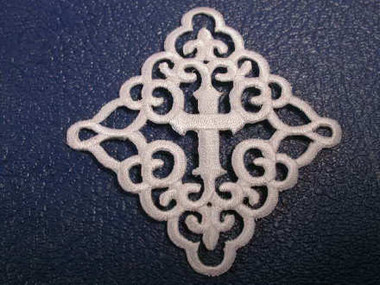 Elegant White Christian Cross Applique Embroidered Iron On Patch 3 Inch