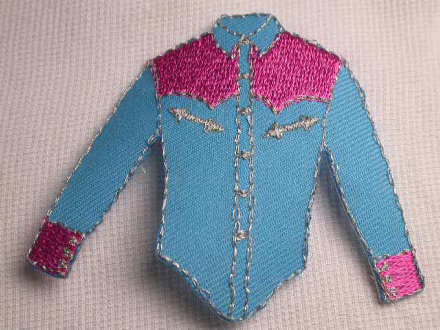 Blue pink western cowboy shirt iron on appliques patches