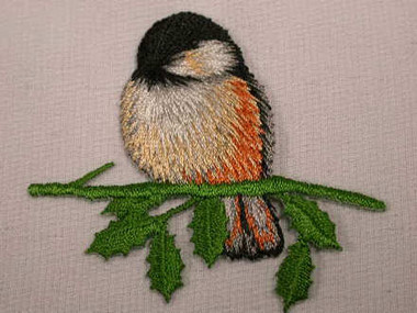 Chickadee w Branch Embroidered Iron On Applique Patch
