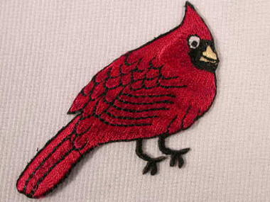 Red Cardinal Applique Patch Right 2.625 Inch
