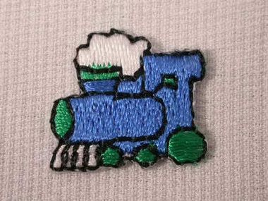 Blue Train Engine Infant Embroidered Iron On Patch 1 In