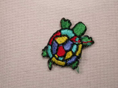 Turtle Jewel Tone Iron On Applique Patch .75 In