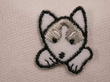 Husky Dog Face Embroidered Iron On Patch Applique