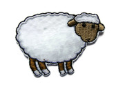 White Sheep Embroidered Iron On Patch Applique 2.38 Inches