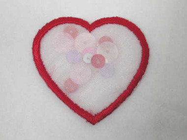 Red Heart w Sequins Embroidered Iron On Patch 1.25 In