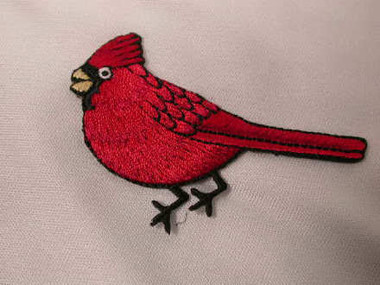 Red Cardinal Iron On Applique Patch Left 2.625 Inch