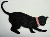 Black Playing Cat Embroidered Iron On Applique Patch