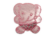 Elephant Child Embroidered Felt Iron On Patch Applique 1.5 Inches - Pink