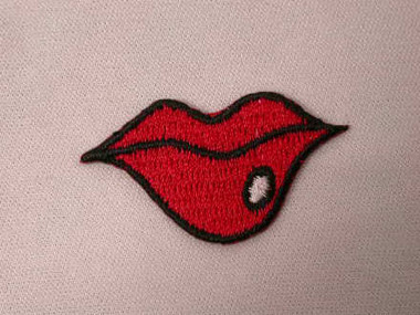 Bright Red Lips w White Kiss Embroidered Iron On Patch