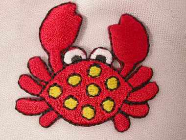 Fun RED Crab Embroidered Iron On Patch Applique