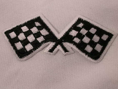 Dual Checkered Race Flag Iron On Patch A Version
