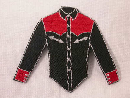 Black red western cowboy shirt iron on appliques patches