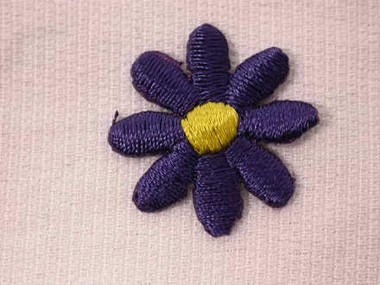 Purple Daisy Embroidered Iron On Patch .88 In