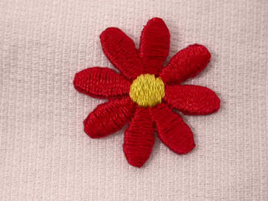 Red Daisy Embroidered Iron On Applique Patch