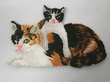 Calico Mother Cat w Kitten Embroidered Iron On Patch