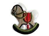 Classic Rocking Hobby Horse Embroidered Iron On Patch Applique 2.25 In