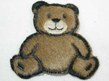 Fuzzy Wuzzy Brown Teddy Bear Iron On Applique Patch