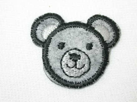 Grey wool teddy bear face iron on appliques patches