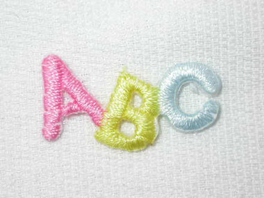 Pastel ABC Infant Child Embroidered Iron On Patch