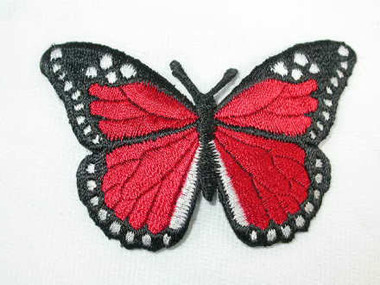Dark Red Butterfly Embroidered Iron On Patch 3 Inch