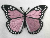 Pale Pink Butterfly Embroidered Iron On Patch 3 Inch