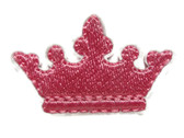 Pink Princess Crown Embroidered Iron On Patch 1.5 Inches