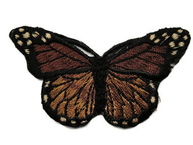Dark Brown Monarch Butterfly Embroidered Iron On Patch 3 Inch