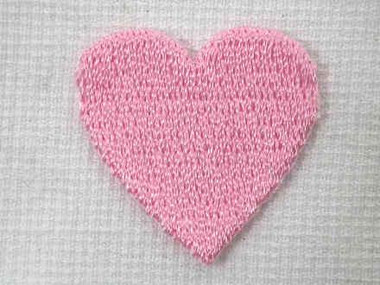 Pink Heart Embroidered Iron On Patch A 1 In