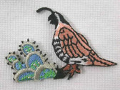 Quail w Cactus Embroidered Iron On Patch CUTE