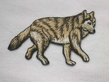 Walking Wolf Embroidered Iron On Patch 2.625 In
