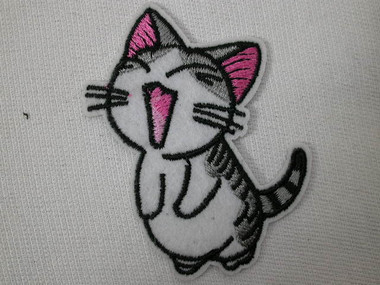 Cute Singing Grey White Pink Kitty Cat Embroidered Iron On Patch