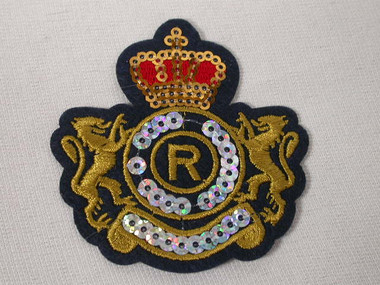 Heraldic Crown Rampant Lions Sequins Embroidered Iron On Patch Badge
