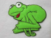 Leaping Frog Felted Embroidered Iron On Patch
