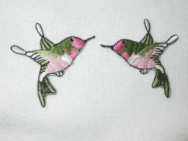 2 Pink Hummingbird Embroidered Iron On Patch Left Right