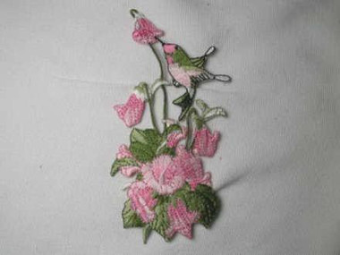 Pink Hummingbird and Flower Spray Iron On Patch Applique