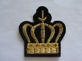 Gold Metallic Crown on Black Embroidered Iron On Patch 2 Inch