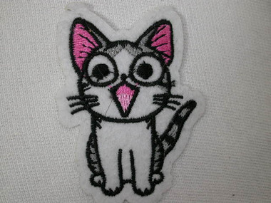Cute Open Mouth Grey White Pink Kitty Cat Embroidered Iron On Patch
