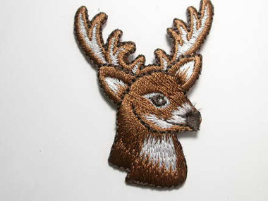 Brown Deer Head w Antlers Embroidered Iron On Patch