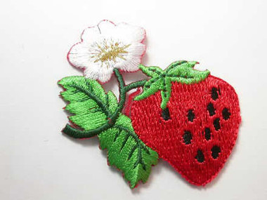 Strawberry w Flower Embroidered Iron On Patch