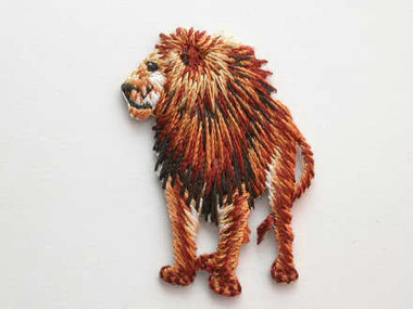 Lion w Mane Iron On Embroidered Applique Patch